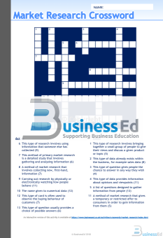 Market Research Crossword