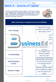 Match It Sources of Finance