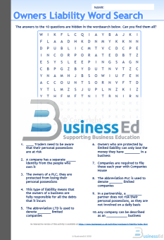 Owners Liability Word Search